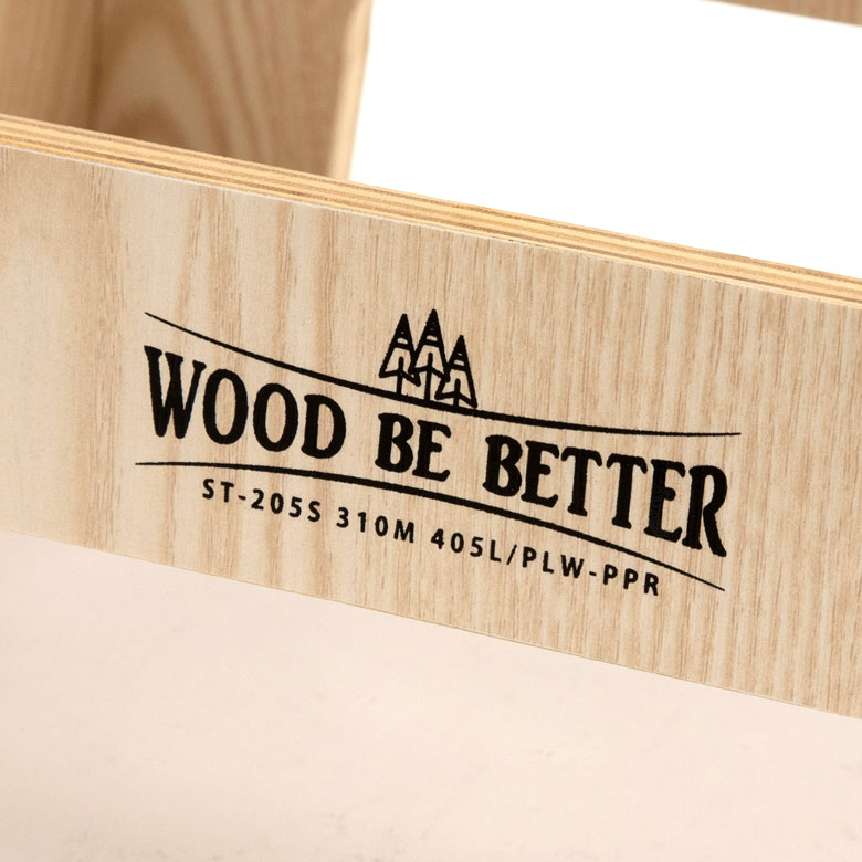 WOOD BE BETTER のロゴ刻印あり
